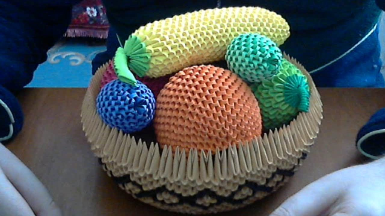 How To Make 3D Origami Fruit Basket
