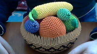 How to make 3D Origami fruit  basket  .