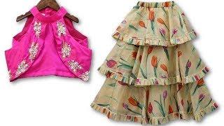 DIY Designer 6 to 7 year baby girl indo western layered lehenga choli cutting stitching