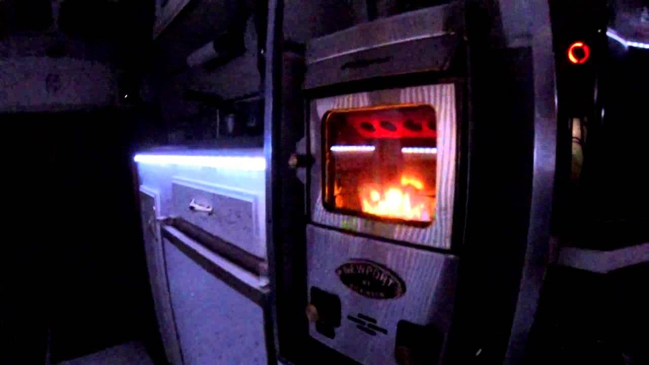 rv life propane fireplace at night youtube