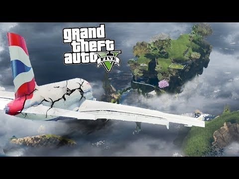Отказ двигателей! Аварийная посадка самолёта на летающий остров - реальная жизнь в гта 5 моды Gta 5