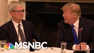"""President Donald Trump's Changing """"Tim Apple"""" Story 
