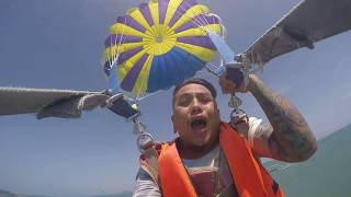 A Tô lần đầu trải nghiệm nhảy dù tại đảo Pattaya Thái Lan