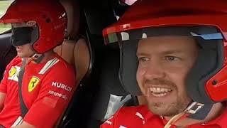 Vettel e Leclerc (bendato). Il giro al Mugello spopola su Instagram