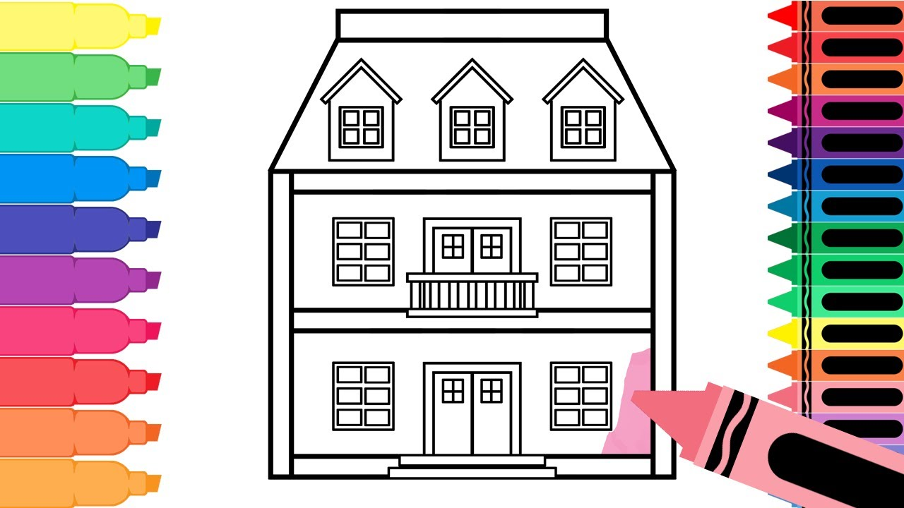 Line Art Doll House : How to draw a doll house learn drawing for kids art