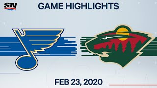 NHL Highlights | St. Louis Blues vs. Minnesota Wild - Feb. 23, 2020
