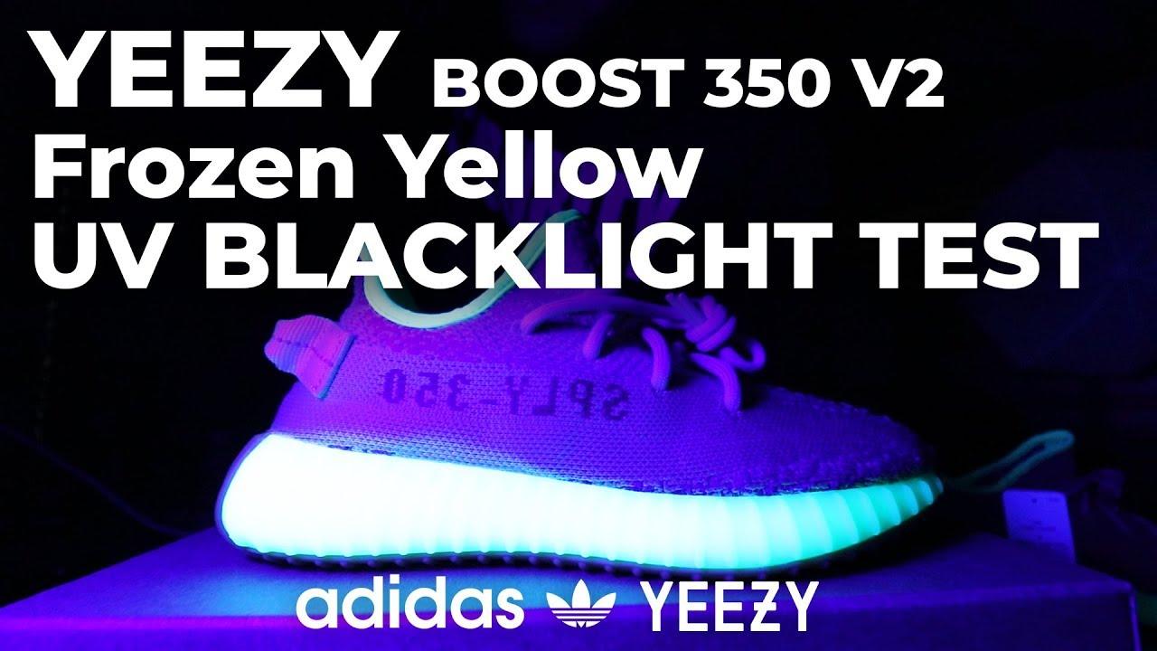 quality design 88804 3ffe2 Yeezy Frozen Yellow UV Blacklight Test - Adidas YEEZY BOOST 350 V2 Frozen  Yellow UV BLACKLIGHT TEST