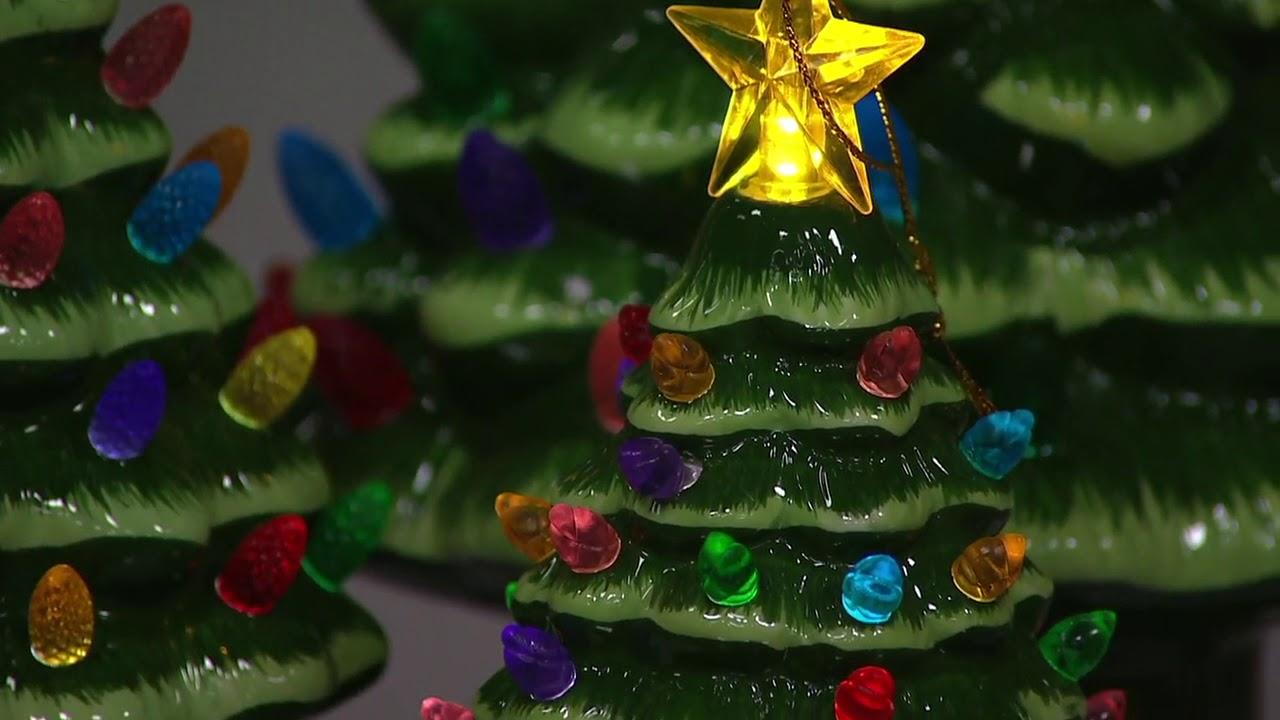 Mr Christmas Set Of 3 Lit Graduated Ceramic Nostalgic Trees On Qvc