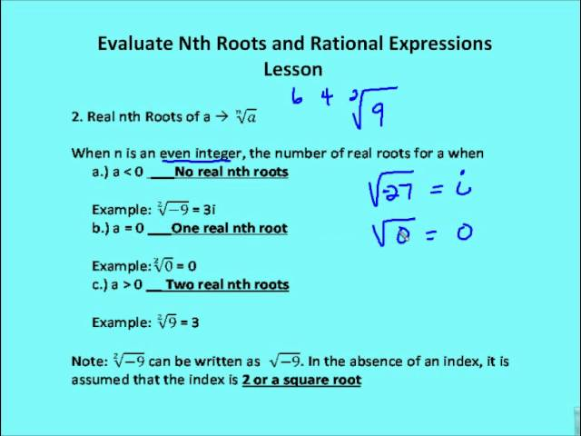 Evaluate Nth Roots & Use Properties Of Rational Exponents - Lessons ...