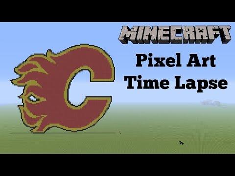 Minecraft Pixel Art Time Lapse Calgary Flames Logo Youtube