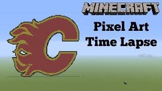 Minecraft Pixel Art Time Lapse - Calgary Flames Logo