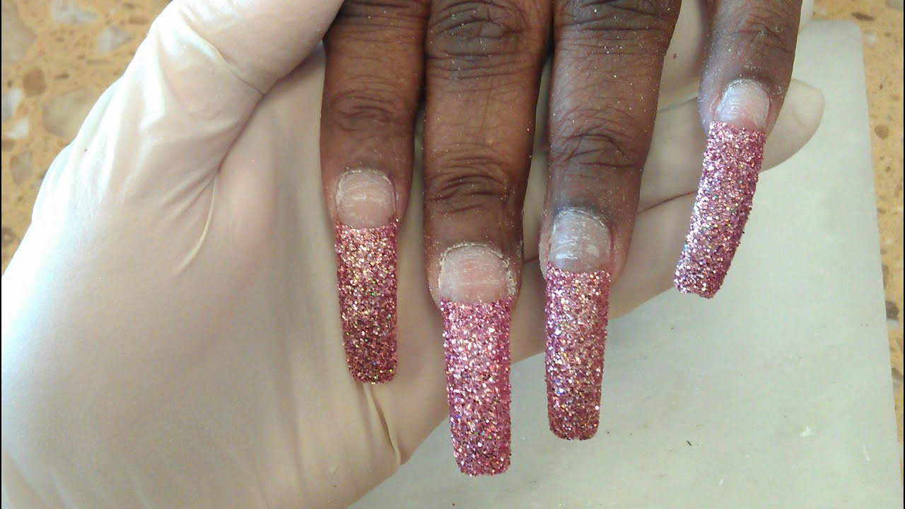 How to do pre design glitter tips part 1 youtube prinsesfo Image collections