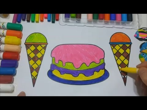 Ice Cream and Cake Coloring Pages for Kids