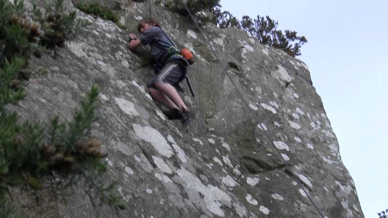 Rock Climbing - Dalkey Quarry Pilaster 4c Daniel Aged 12.mp4