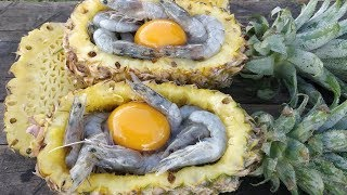 Steamed Shrimp in Pineapple / Cooking Shrimp in Pineapple / Kdeb Cooking