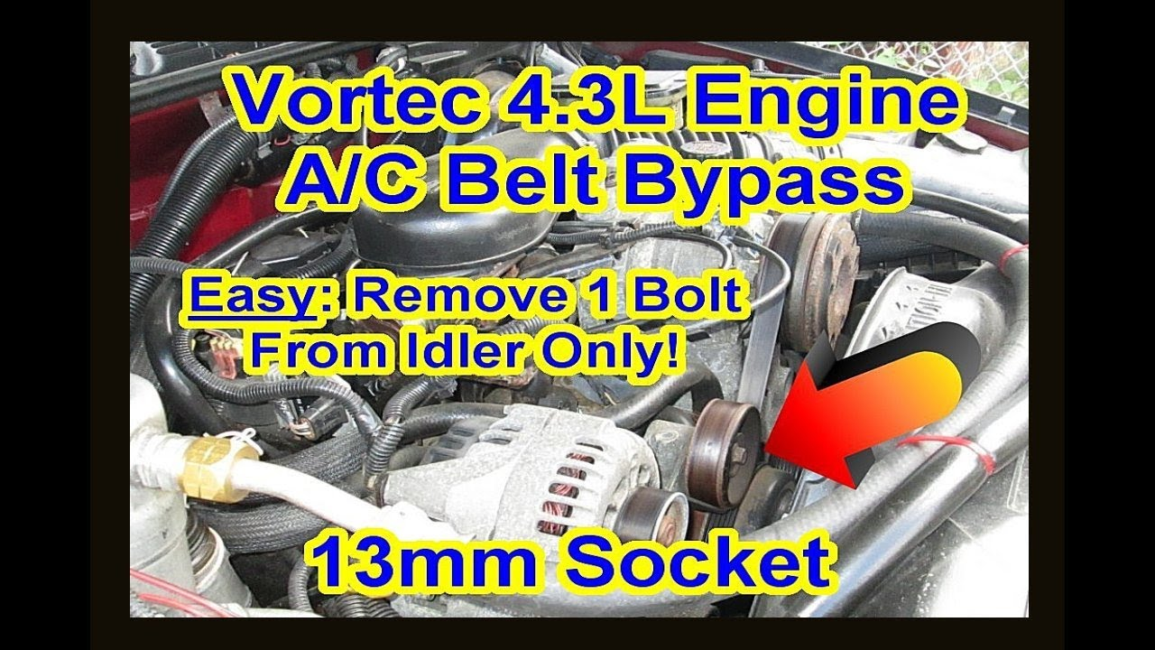 medium resolution of chevy gmc 4 3l vortec ac compressor bypass delete fix removal locked up repair clutch pulley s10