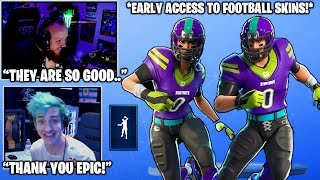 NINJA & TIM Shows You Their *EARLY ACCESS* NFL Football Skins & Emotes..! (Fortnite Moments)