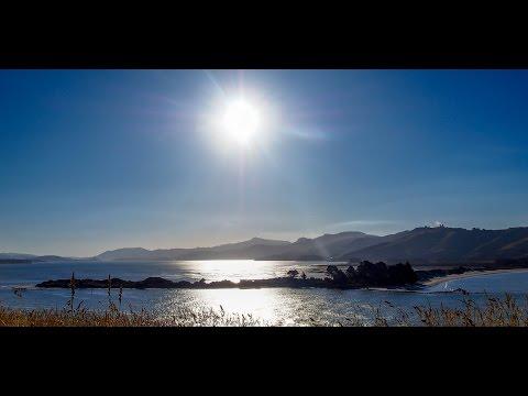 Motorbike ride around beautiful Otago harbour, Dunedin, New Zealand