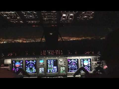 Embraer Legacy 600 Night Approaching At Tel-Aviv (Cockpit view)