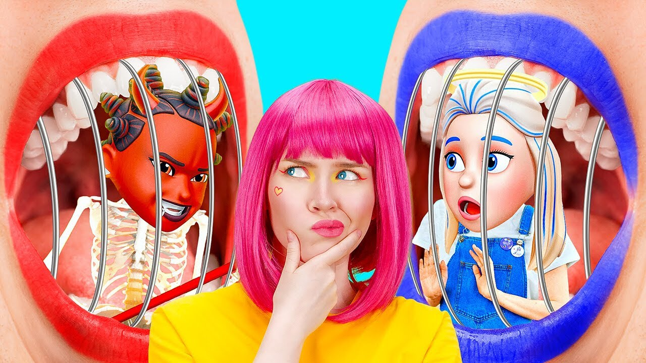 OMG! ANGEL AND DEMON CONTROL ME    Emoji In Real Life! Inside Out Good VS Evil Rules By 123 GO! BOYS