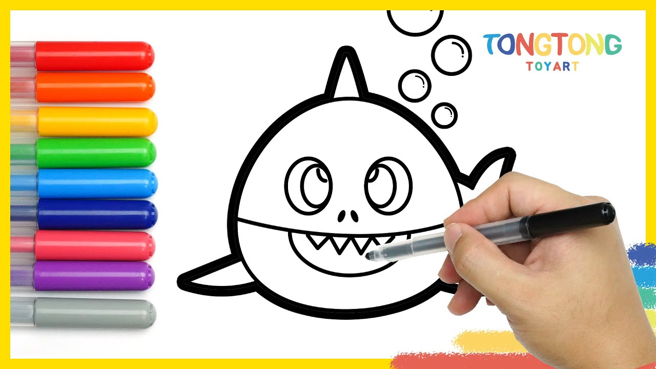 How To Draw Baby Shark Family Coloring Pages For Kids Easy