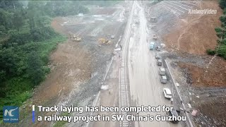 Track laying completed for SW China's railway project
