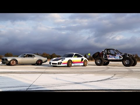 SEMA Drag Race! '70 Mustang vs Porsche 911 vs Ultra Four Buggy - 2013 SEMA Week Ep. 4