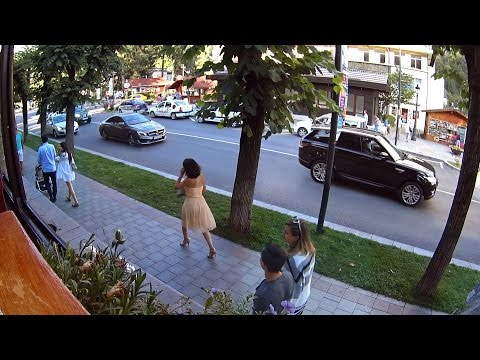 Live street - people passing by in Sinaia, Romania
