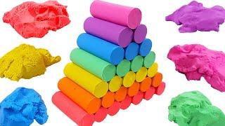 Pink pong, baby shark, pororo, krong / kinetic sand making rainbow stairs