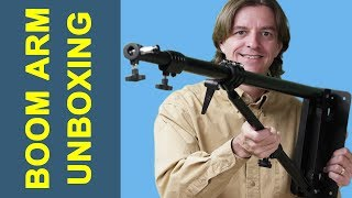 Unboxing an Impact 7' wall-mounted boom arm for photography studio equipment