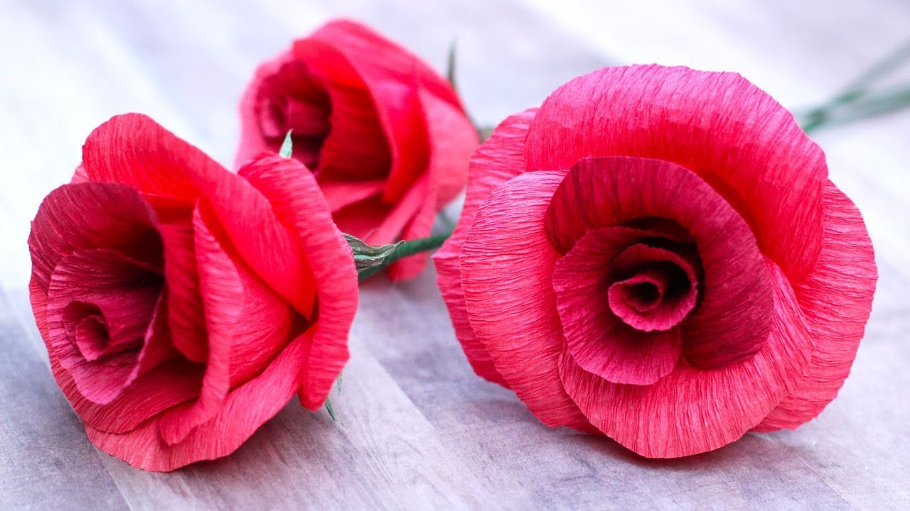 How To Make A Crepe Paper Rose Youtube