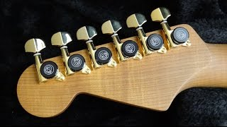 How to Install Planet Waves  Auto Trim Tuning Machines on Warmoth Strat Neck