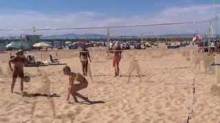 Greer Moseman Red Top / Black & White Striped Bottoms- - Cal Cup Beach Tournament 2013