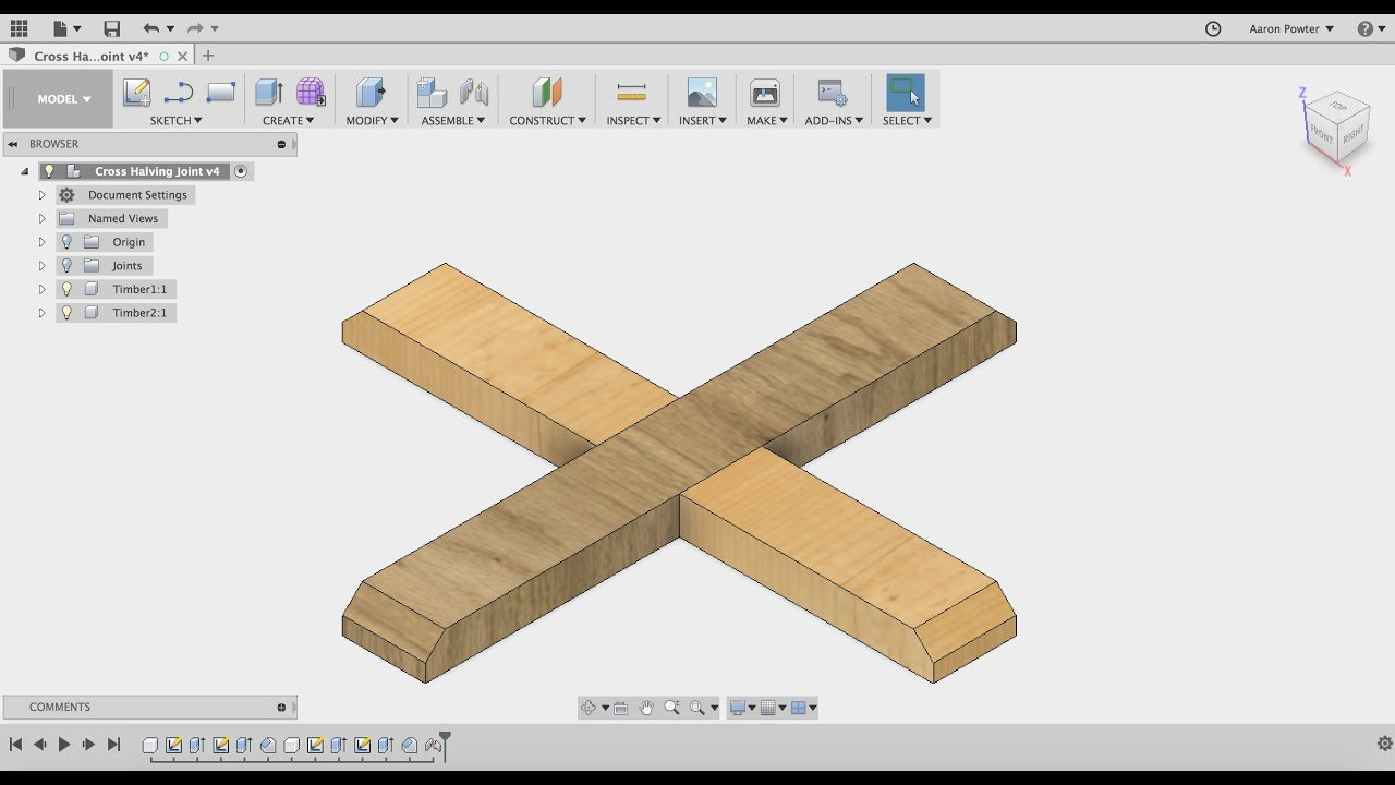 Fusion 360 Cross Half Joint - HTC Tech10