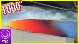 EXPERIMENT! GLOWING 1000 degree KNIFE  vs DRY ICE!  |  KITTIESMAMA