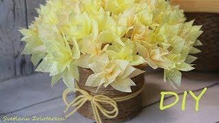 Цветы из бумажных салфеток Букет из бумаги Поделка Подарок на 8 марта своими руками