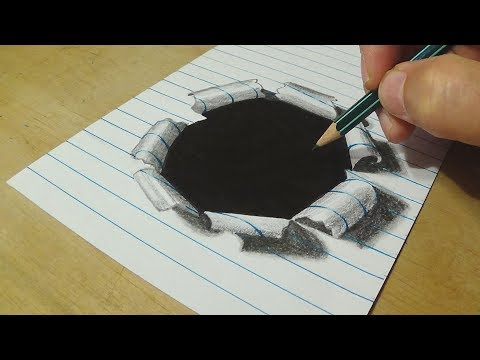 How to Draw Hole Paper - Drawing Hole Lined Paper with Graphite Pencils - Anamorphic Illusion