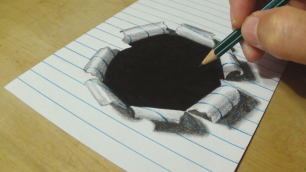 How To Draw Hole Paper Drawing Hole Lined Paper With