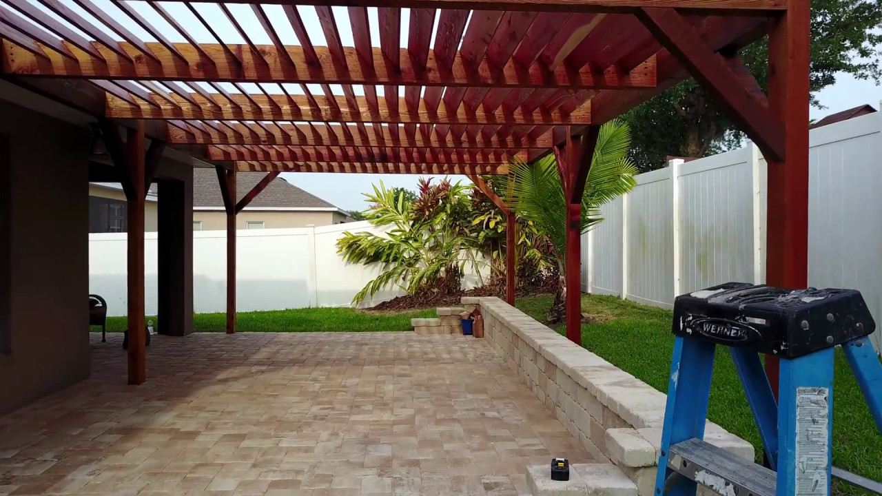 Modern Cedar Louvered Pergola in Covington Chase, Winter