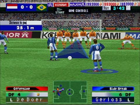ISS 2000 - PS1 Gameplay - Netherlands vs. Brazil
