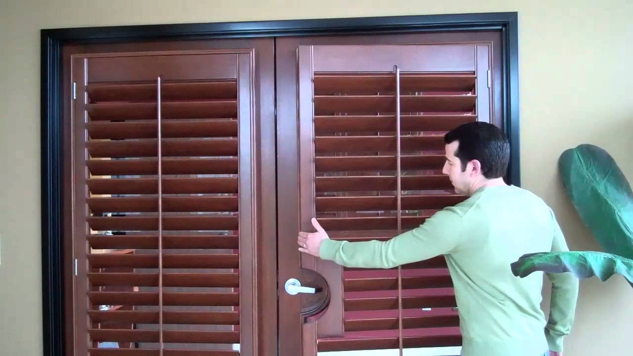 Wood shutters on french doors mr b 39 s shutters blinds for Wood doors and shutters