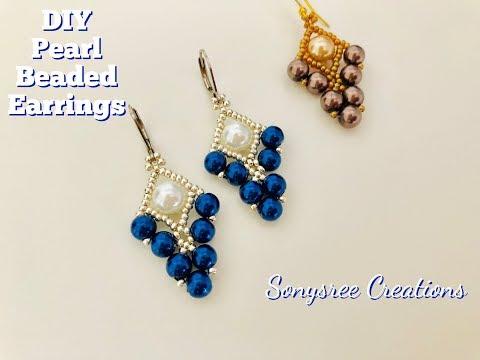 Quick & Easy to make Beaded Earrings || How to make Pearl Earrings || Wedding Pearl Earrings