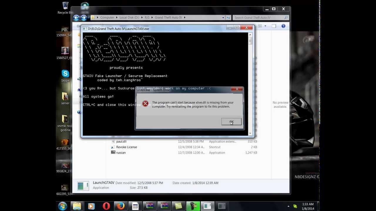 Grand Theft Auto IV xlive dll problem on Windows 7 HD