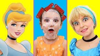 Kids Makeup Cinderella Disney Princess Super Elsa Play with Real Princess Dress & Costume