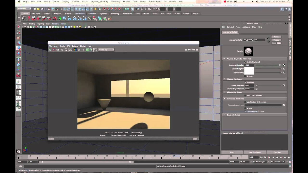Maya 2011 Mental Ray Portal Light Physical Sun and Sky Tutorial by