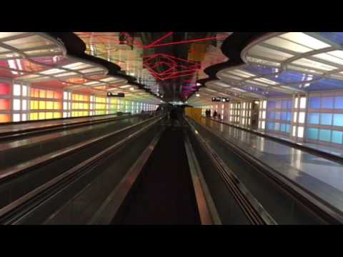 O'Hare Airport Lights Tunnel United Airlines Terminal Chicago