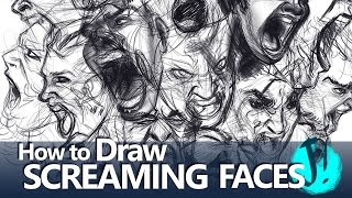 HOW TO DRAW SCREAMING FACES  - TUTORIAL