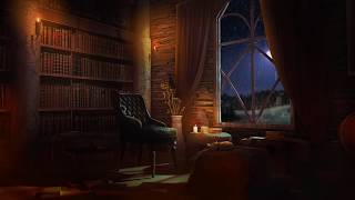 Relaxing Rain and Fireplace Sounds at Night | Reading Nook Ambience