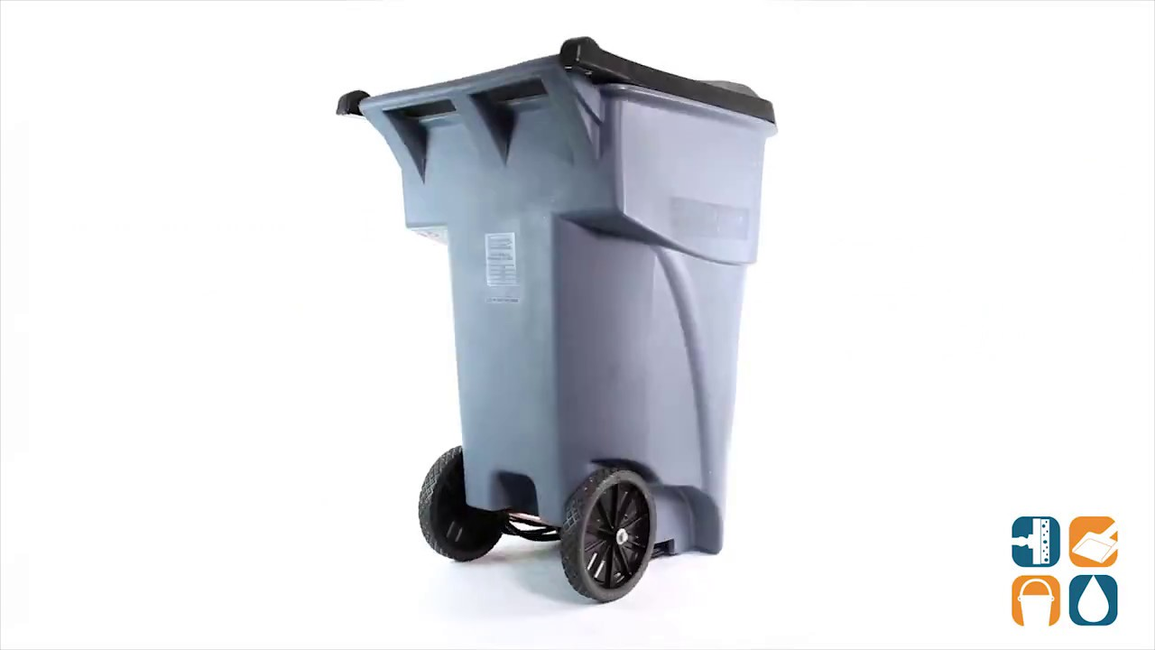 Rubbermaid 9W21 Brute 65 Gallon Heavy Duty Rollout Trash Can Gray
