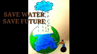 SAVE WATER FOR SAVE FUTURE-Draw step by step.